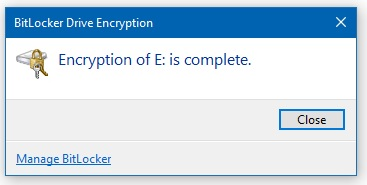 Encryption is completed message box