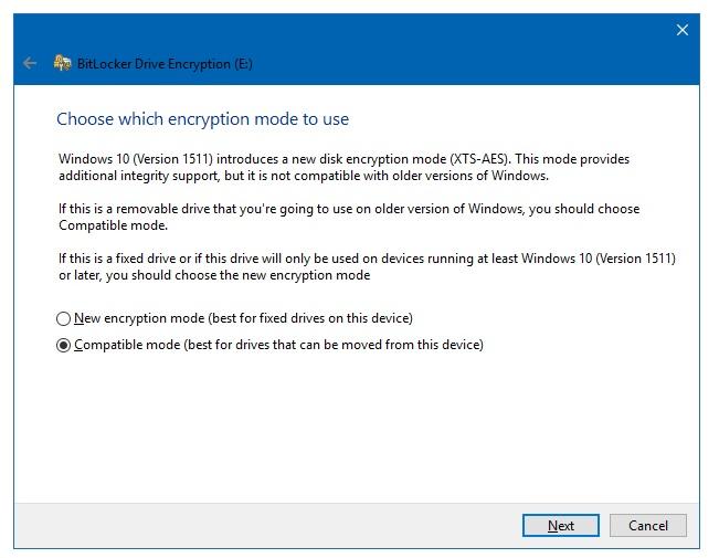 choose encryption type for BitLocker