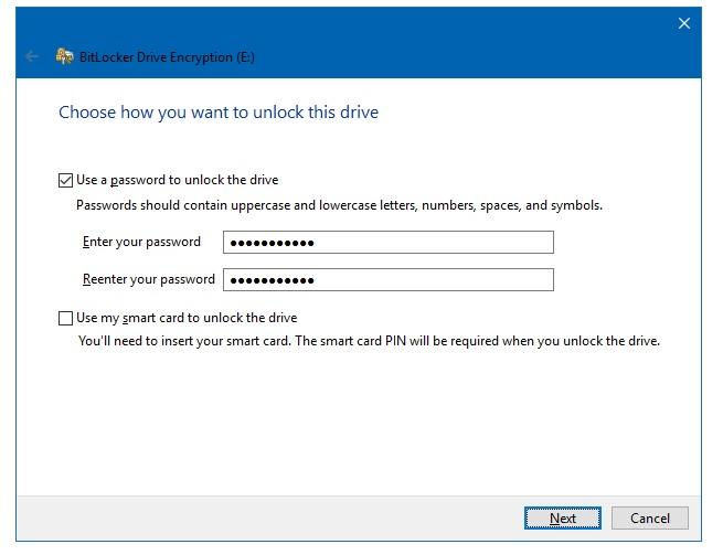 setup-password to usb flash drive