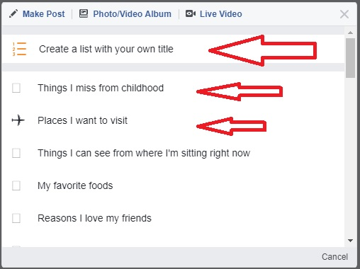 facebook status list pre reday list