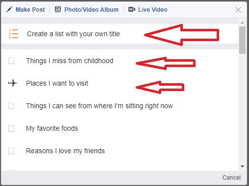 facebook status list pre reday list