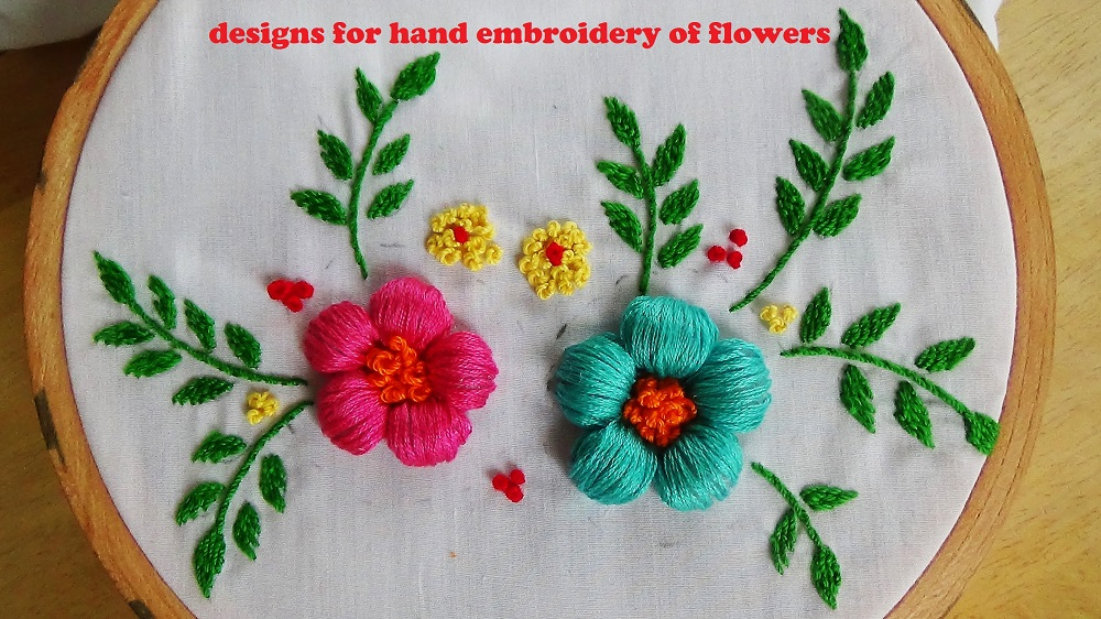 Hand Embroidery Flower Design.