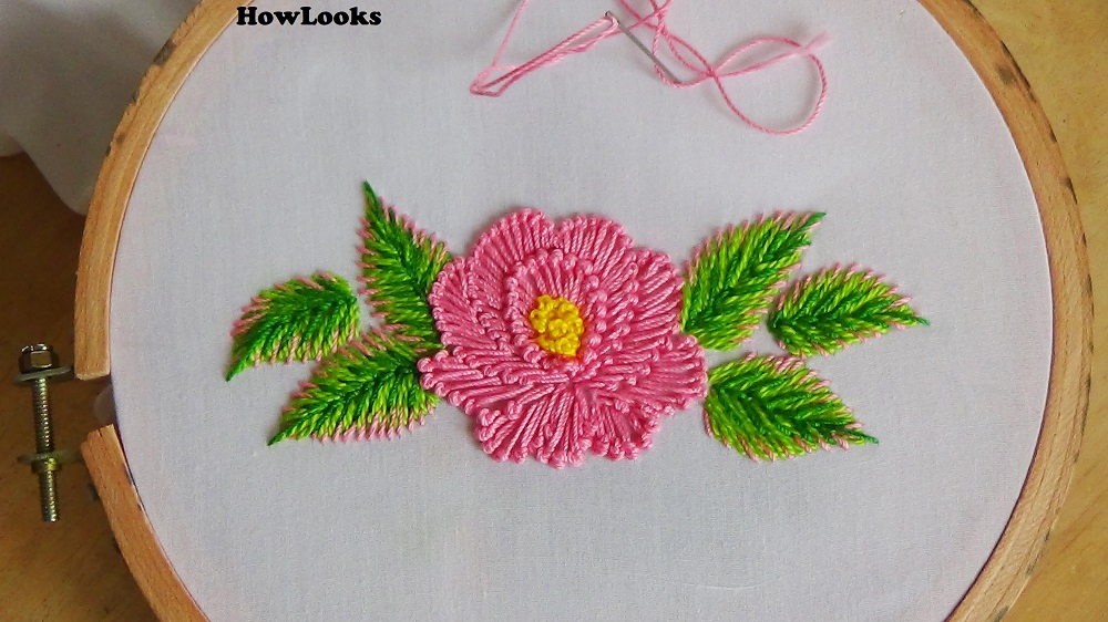 Handmade bed sheet flower design.