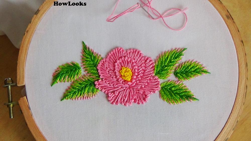 Handmade bed sheet flower design.