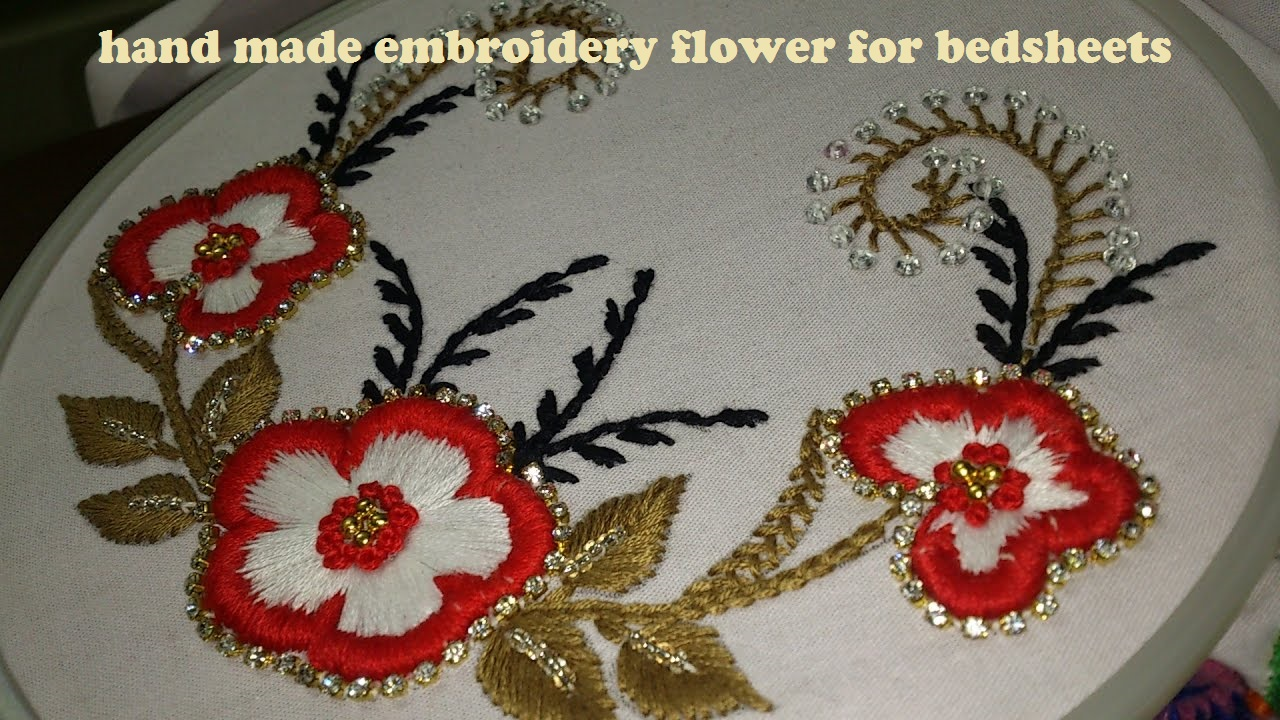 Beautiful Embroidery Flower Design For BedSheet