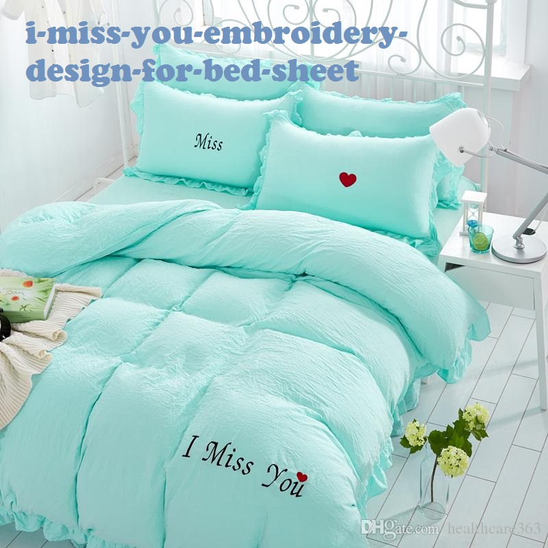 I Miss You Embroidery Design For Bed Sheet
