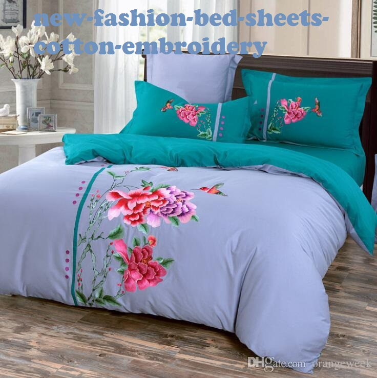 Cotton Embroidery Design For 3 Color Bed Sheet