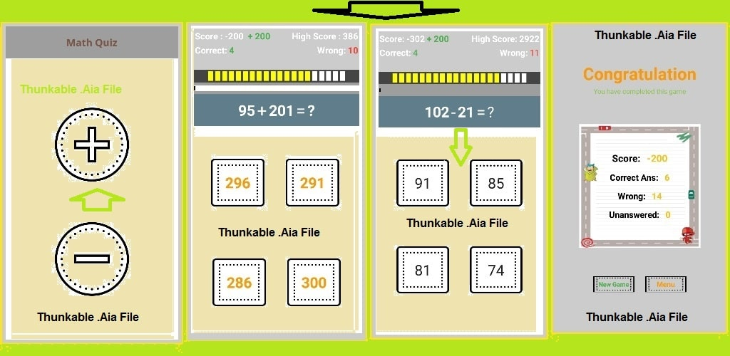 Math Quiz app aia file for thunkable