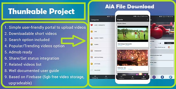 Whatsapp Video Status Sharing App Aia file for Thunkable