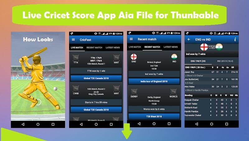cricket score app screen shots